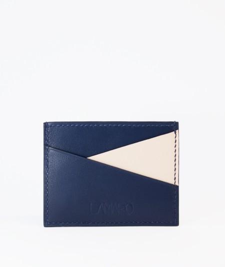 porte-cartes compact lamaro bleu nuit blanc cassé vue de face