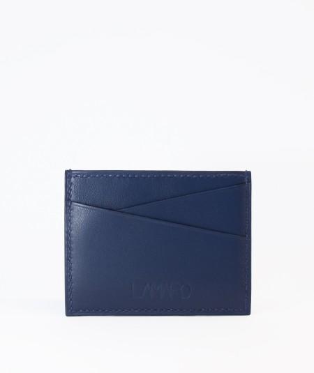 porte-cartes compact lamaro bleu nuit vue de face