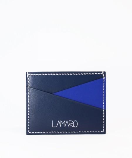 porte-cartes compact lamaro bleu nuit bleu roi vue de face