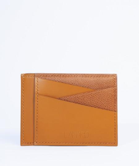 grand porte-cartes bi-matière en cuir