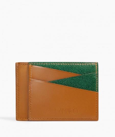 porte-cartes en cuir camel et vert