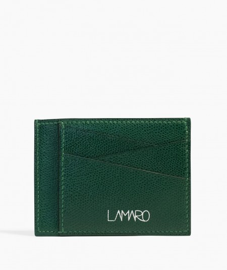 porte-cartes en cuir vert made in france