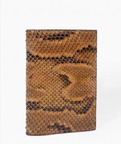 protège passeport en cuir de python camel