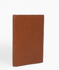 protège passeport en cuir camel fabriqué à la main