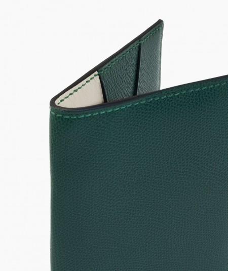 protège passeport en cuir vert